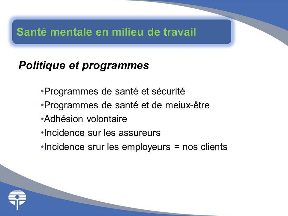 Politique et programmes Programmes de santé et sécurité Programmes de santé et de meiux-être Adhésion volontaire Incidence sur les assureurs Incidence