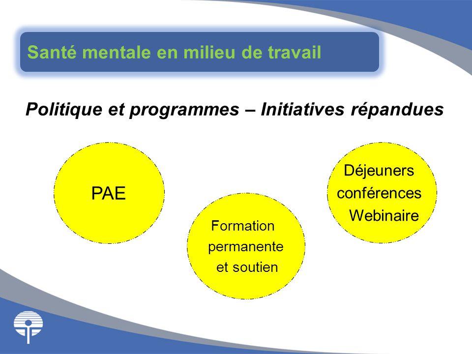 Politique et programmes – Initiatives répandues Déjeuners conférences Webinaire PAE Formation permanente et soutien