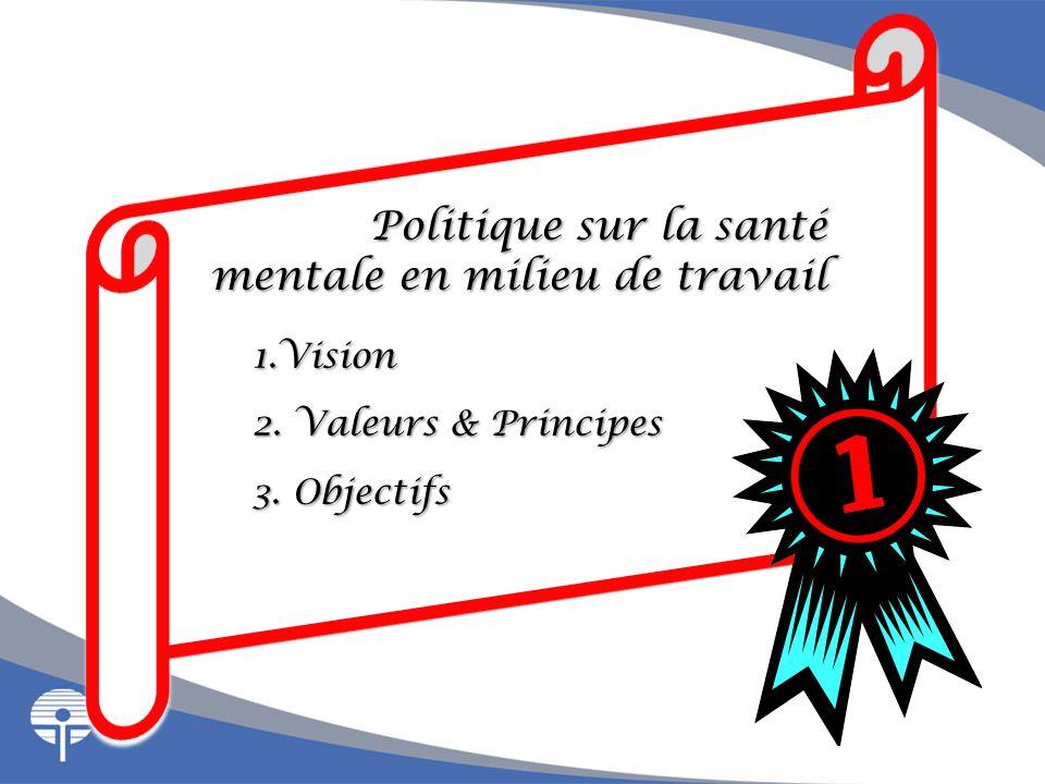 Politique sur la santé mentale en milieu de travail mentale en milieu de travail 1.Vision 2. Valeurs & Principes 3. Objectifs