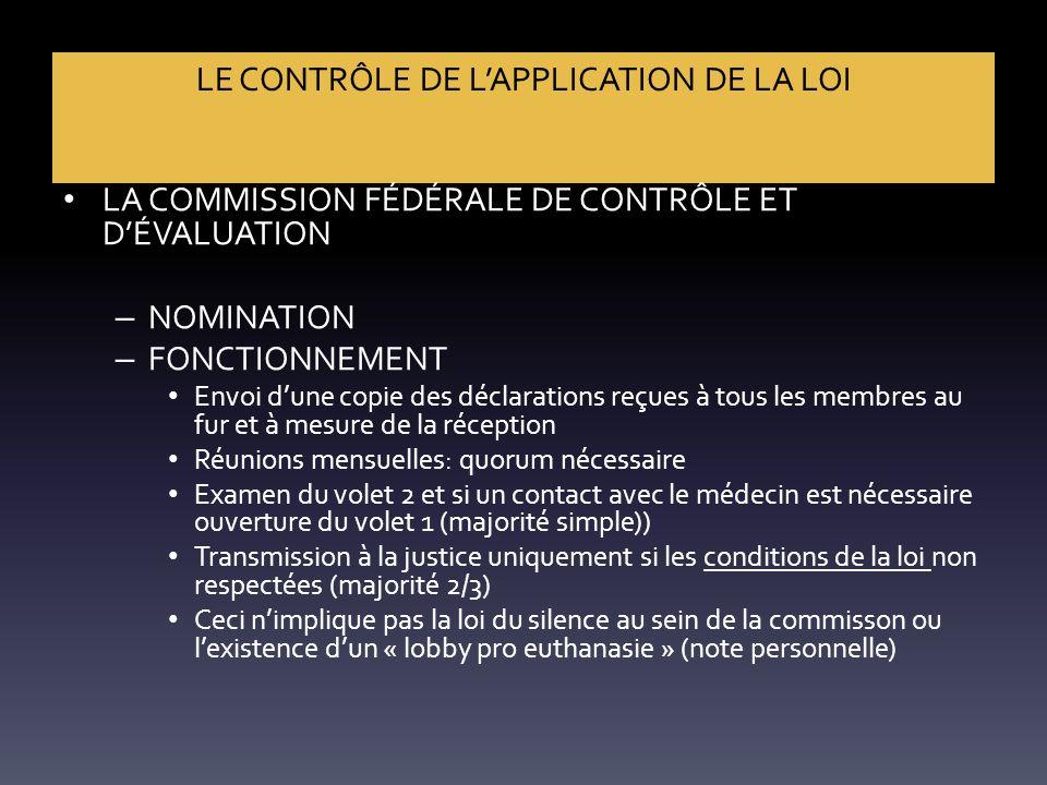 LE CONTRÔLE DE L'APPLICATION DE LA LOI LA COMMISSION FÉDÉRALE DE CONTRÔLE ET D'ÉVALUATION – NOMINATION – FONCTIONNEMENT Envoi d'une copie des déclarat