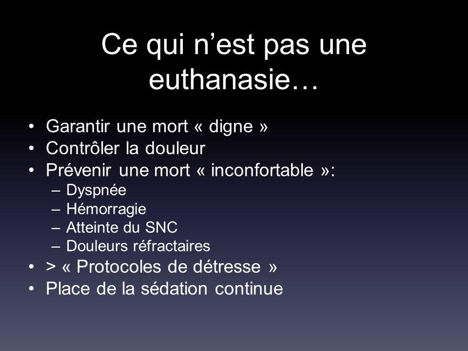 Ce qui n'est pas une euthanasie… Garantir une mort « digne » Contrôler la douleur Prévenir une mort « inconfortable »: –Dyspnée –Hémorragie –Atteinte