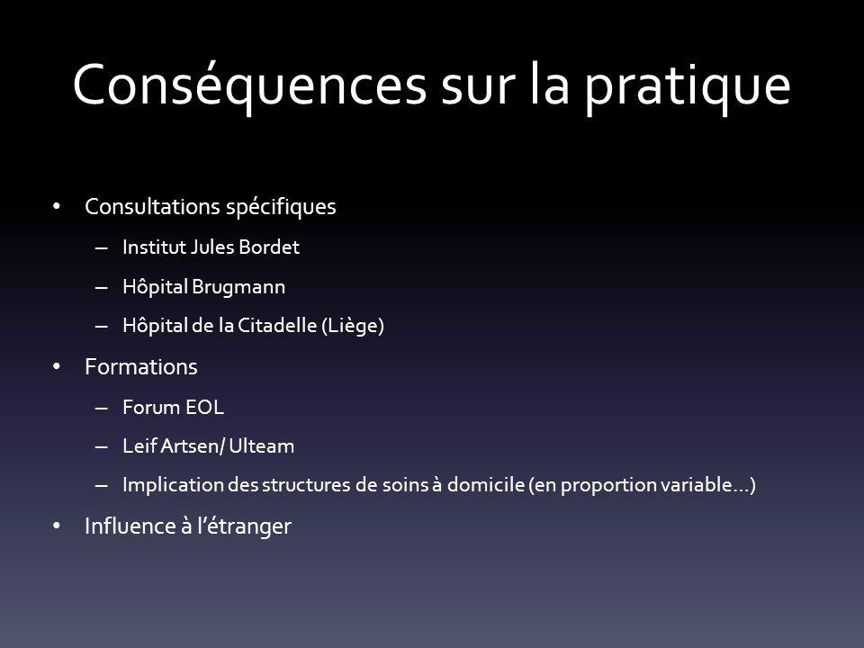Conséquences sur la pratique Consultations spécifiques – Institut Jules Bordet – Hôpital Brugmann – Hôpital de la Citadelle (Liège) Formations – Forum