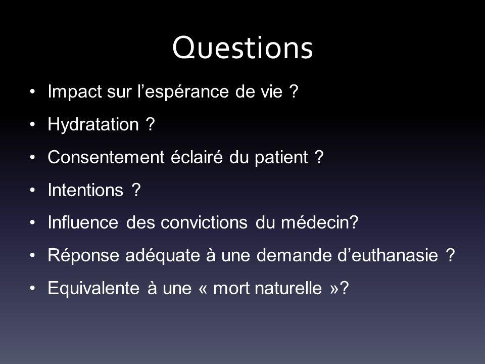 Questions Impact sur l'espérance de vie ? Hydratation ? Consentement éclairé du patient ? Intentions ? Influence des convictions du médecin? Réponse a
