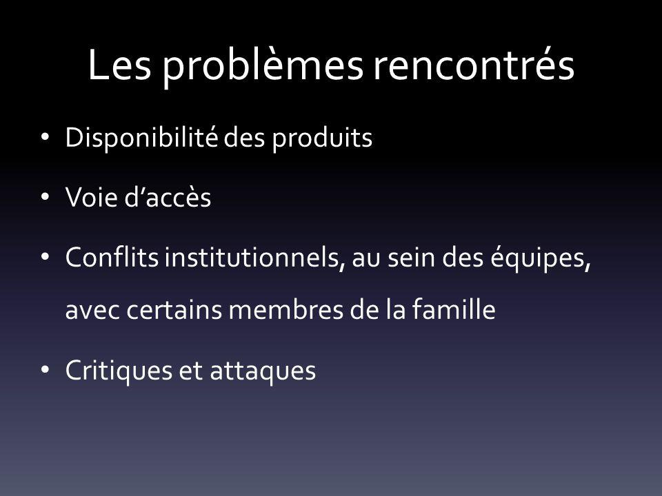 Les problèmes rencontrés Disponibilité des produits Voie d'accès Conflits institutionnels, au sein des équipes, avec certains membres de la famille Cr