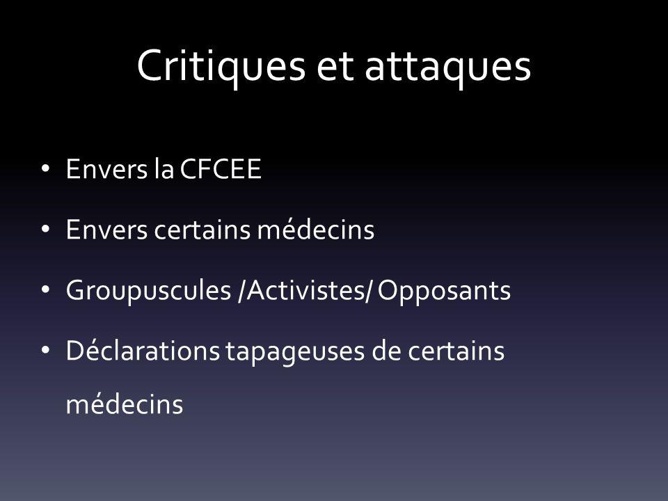 Envers la CFCEE Envers certains médecins Groupuscules /Activistes/ Opposants Déclarations tapageuses de certains médecins