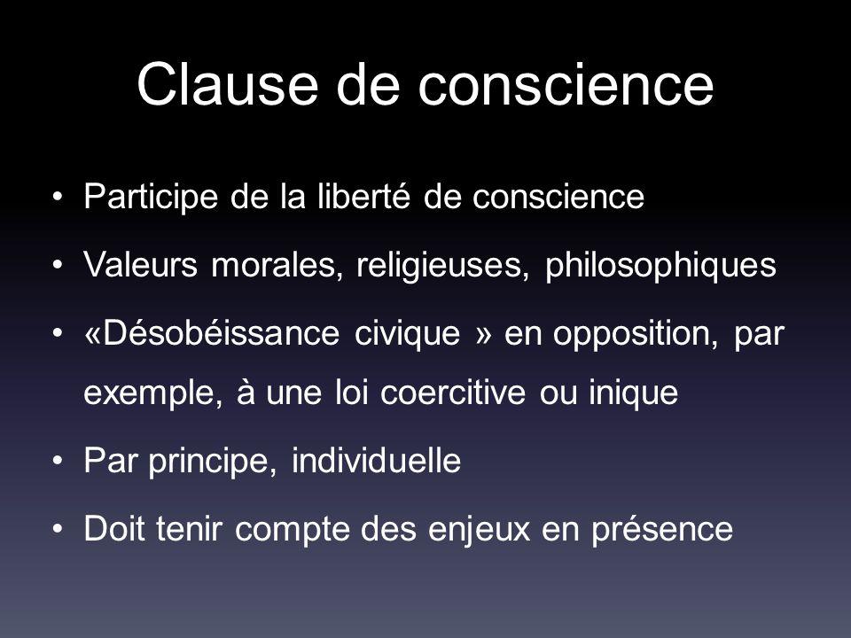 Participe de la liberté de conscience Valeurs morales, religieuses, philosophiques «Désobéissance civique » en opposition, par exemple, à une loi coer