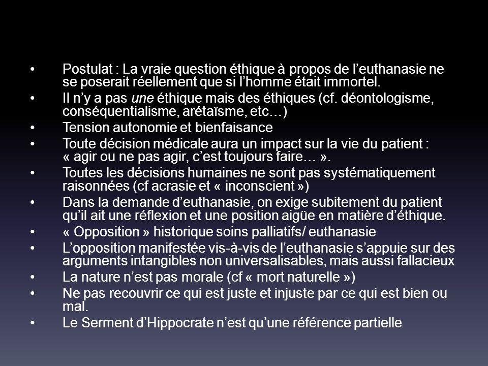 Postulat : La vraie question éthique à propos de l'euthanasie ne se poserait réellement que si l'homme était immortel. Il n'y a pas une éthique mais d