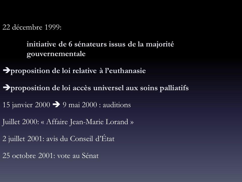 22 décembre 1999: initiative de 6 sénateurs issus de la majorité gouvernementale  proposition de loi relative à l'euthanasie  proposition de loi acc