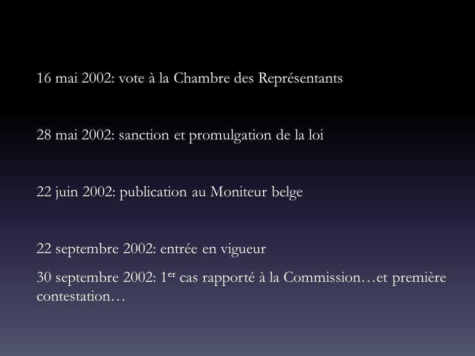 16 mai 2002: vote à la Chambre des Représentants 28 mai 2002: sanction et promulgation de la loi 22 juin 2002: publication au Moniteur belge 22 septem