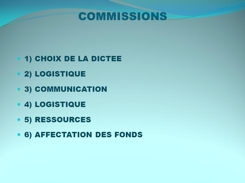COMMISSIONS 1) CHOIX DE LA DICTEE 2) LOGISTIQUE 3) COMMUNICATION 4) LOGISTIQUE 5) RESSOURCES 6) AFFECTATION DES FONDS