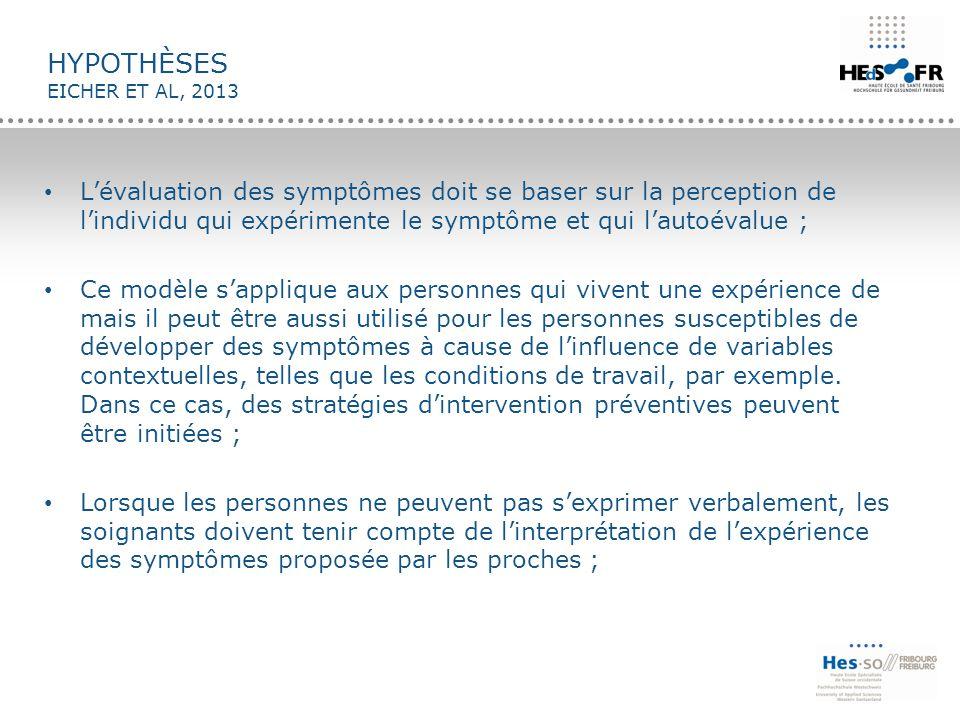 HYPOTHÈSES EICHER ET AL, 2013 L'évaluation des symptômes doit se baser sur la perception de l'individu qui expérimente le symptôme et qui l'autoévalue