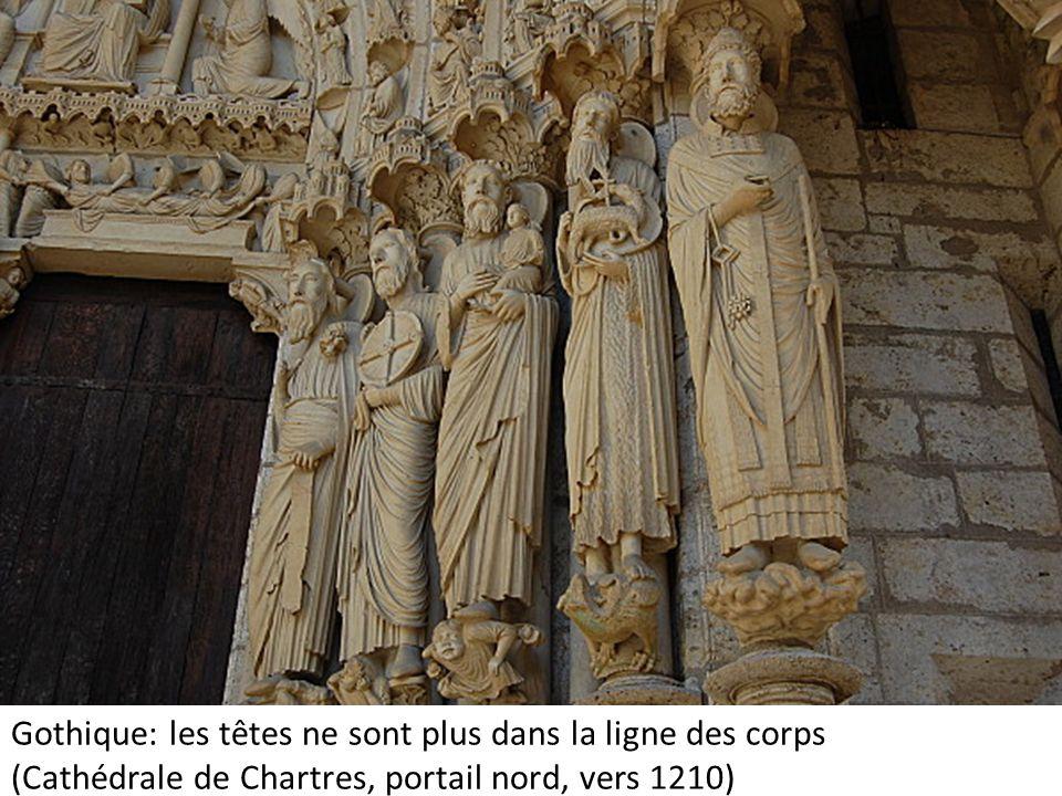 Gothique: les têtes ne sont plus dans la ligne des corps (Cathédrale de Chartres, portail nord, vers 1210)