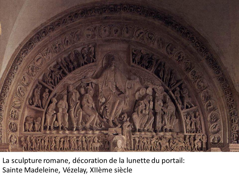 La sculpture romane, décoration de la lunette du portail: Sainte Madeleine, Vézelay, XIIème siècle