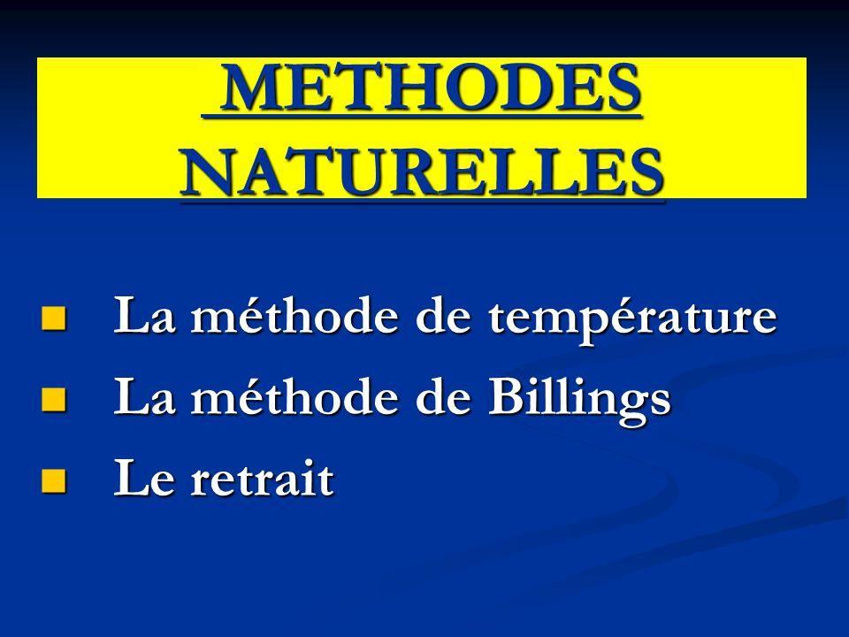 METHODES NATURELLES METHODES NATURELLES La méthode de température La méthode de température La méthode de Billings La méthode de Billings Le retrait L