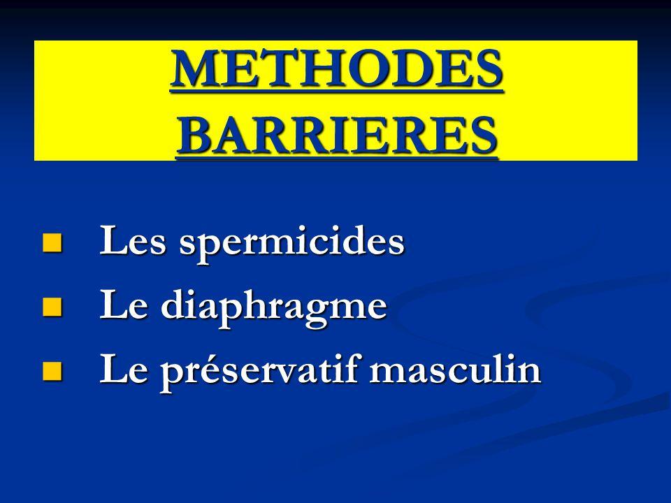 METHODES BARRIERES Les spermicides Les spermicides Le diaphragme Le diaphragme Le préservatif masculin Le préservatif masculin
