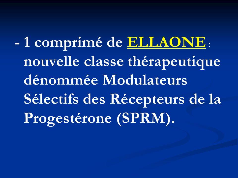 - 1 comprimé de ELLAONE : nouvelle classe thérapeutique dénommée Modulateurs Sélectifs des Récepteurs de la Progestérone (SPRM).