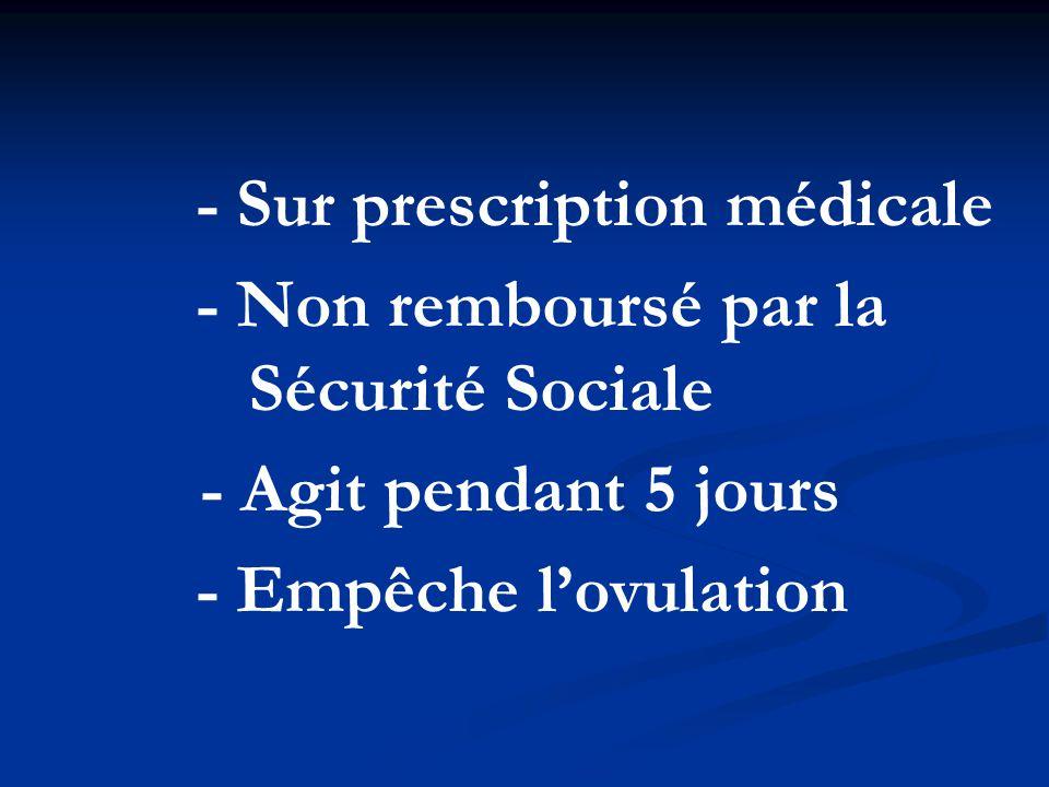 - Sur prescription médicale - Non remboursé par la Sécurité Sociale - Agit pendant 5 jours - Empêche l'ovulation