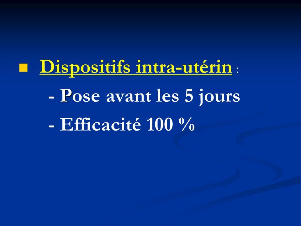 Dispositifs intra-utérin : P - Pose avant les 5 jours - Efficacité 100 %
