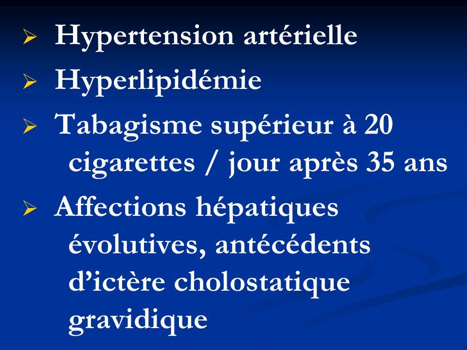   Hypertension artérielle   Hyperlipidémie   Tabagisme supérieur à 20 cigarettes / jour après 35 ans   Affections hépatiques évolutives, antéc