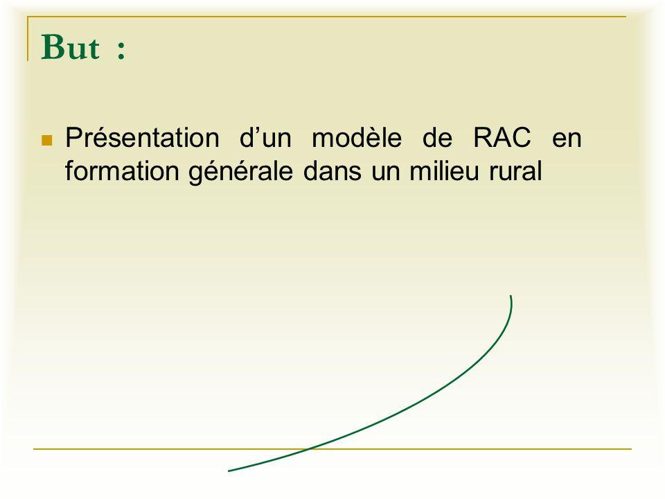 But : Présentation d'un modèle de RAC en formation générale dans un milieu rural
