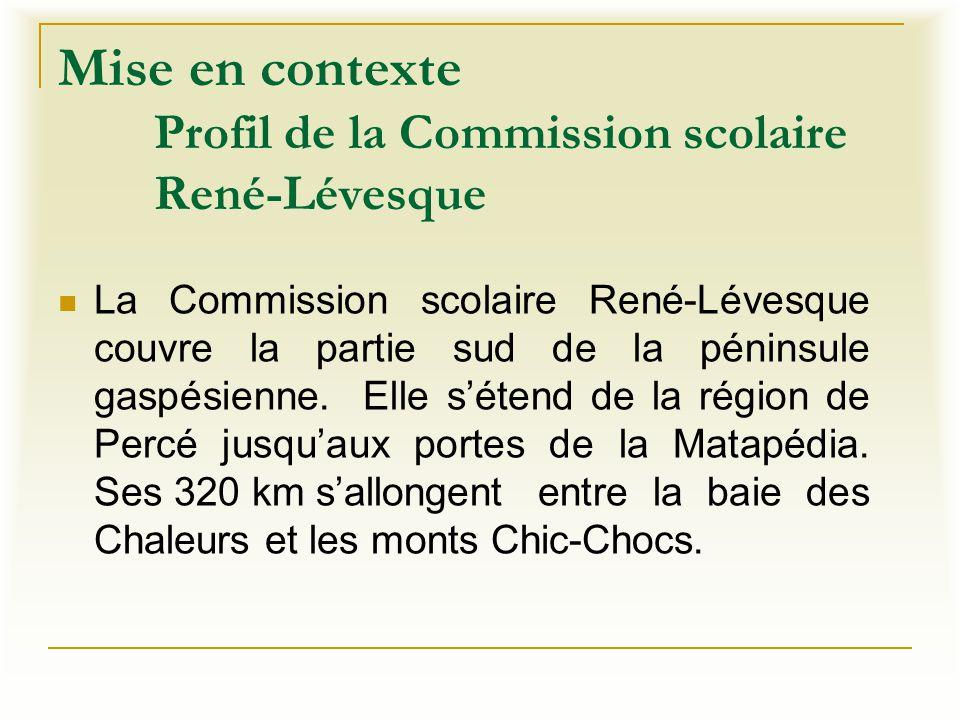 Mise en contexte Profil de la Commission scolaire René-Lévesque La Commission scolaire René-Lévesque couvre la partie sud de la péninsule gaspésienne.