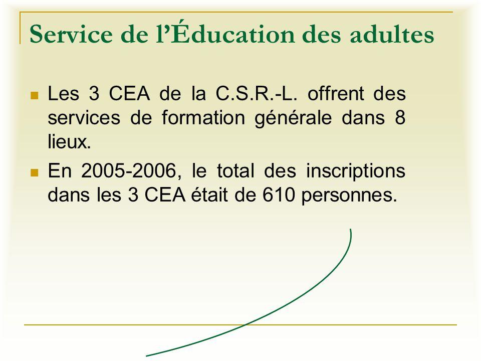 Service de l'Éducation des adultes Les 3 CEA de la C.S.R.-L. offrent des services de formation générale dans 8 lieux. En 2005-2006, le total des inscr