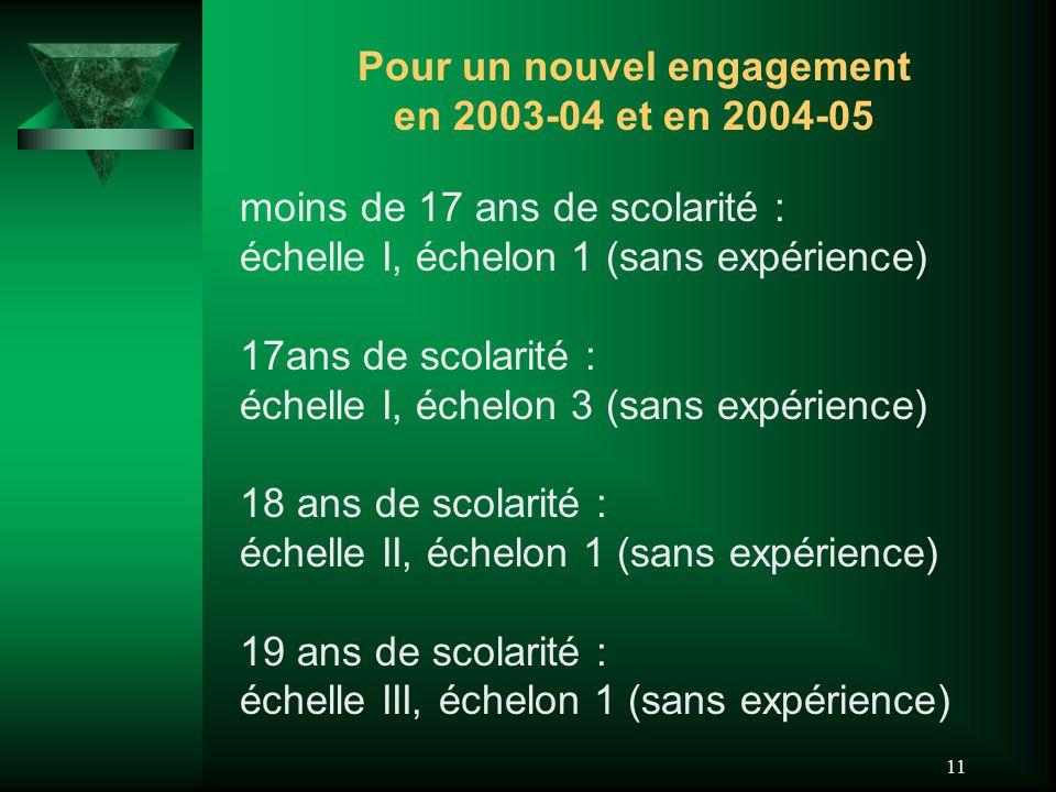 11 Pour un nouvel engagement en 2003-04 et en 2004-05 moins de 17 ans de scolarité : échelle I, échelon 1 (sans expérience) 17ans de scolarité : échel