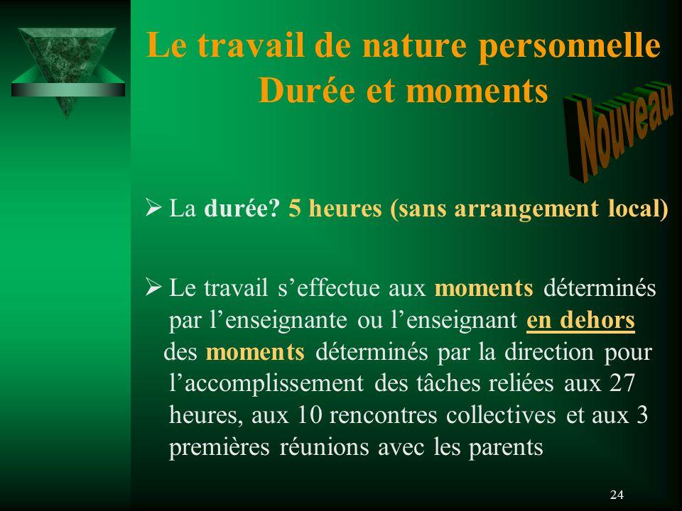 24 Le travail de nature personnelle Durée et moments  La durée.