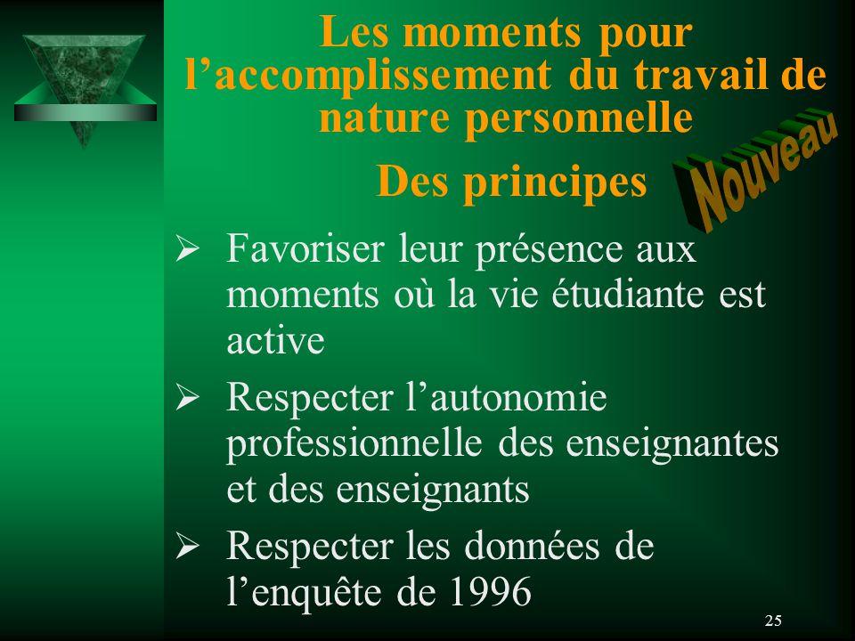 25 Les moments pour l'accomplissement du travail de nature personnelle Des principes  Favoriser leur présence aux moments où la vie étudiante est active  Respecter l'autonomie professionnelle des enseignantes et des enseignants  Respecter les données de l'enquête de 1996