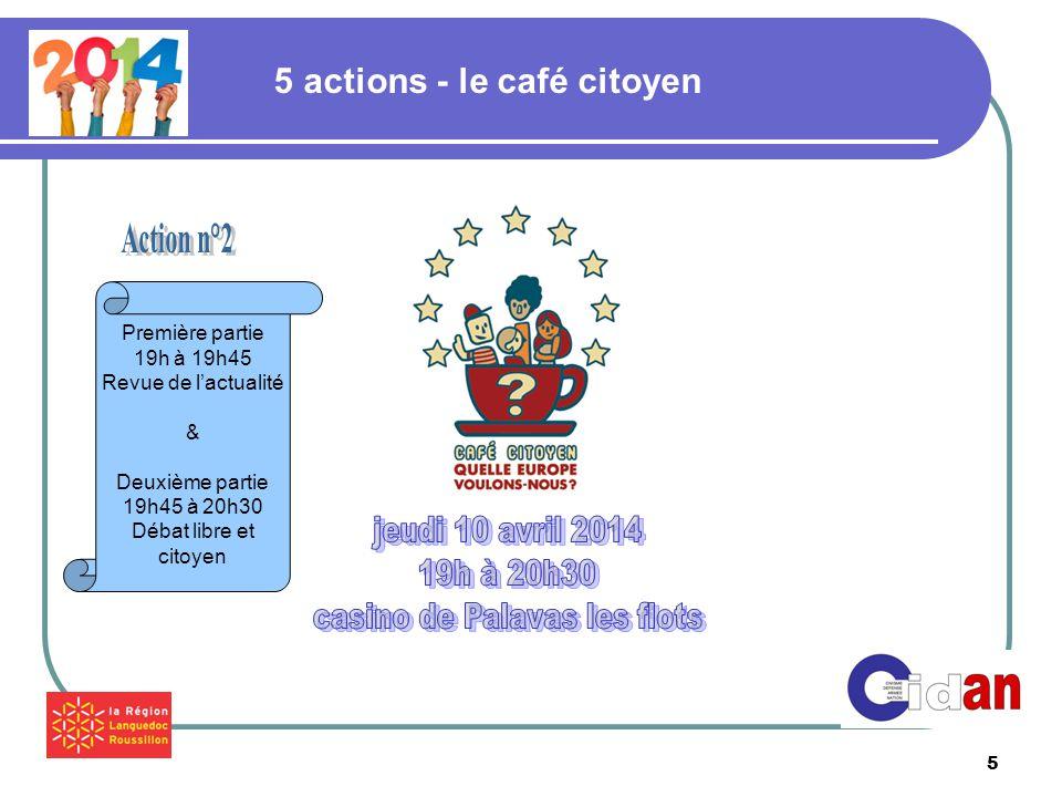 5 5 actions - le café citoyen Première partie 19h à 19h45 Revue de l'actualité & Deuxième partie 19h45 à 20h30 Débat libre et citoyen