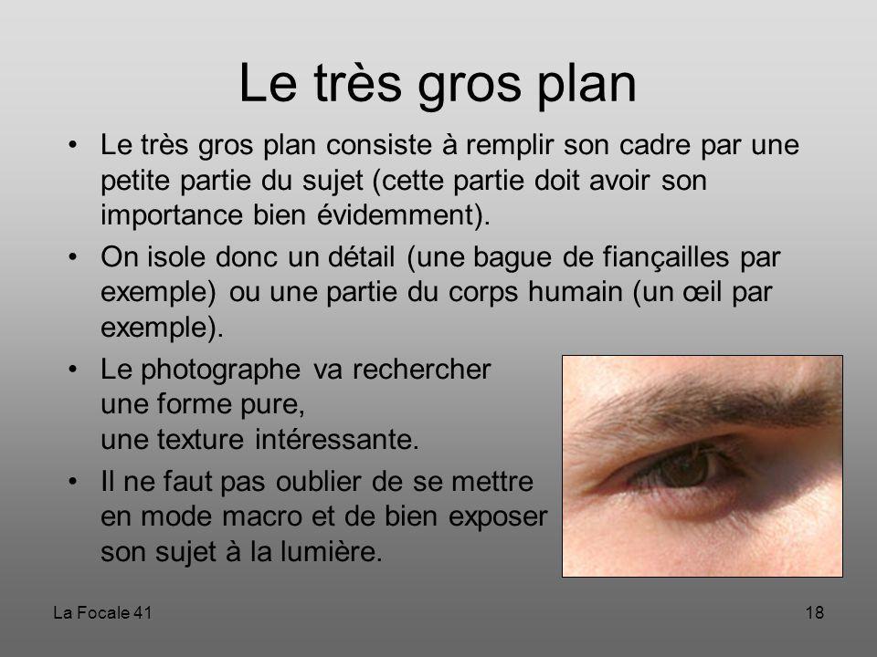 La Focale 4118 Le très gros plan Le très gros plan consiste à remplir son cadre par une petite partie du sujet (cette partie doit avoir son importance