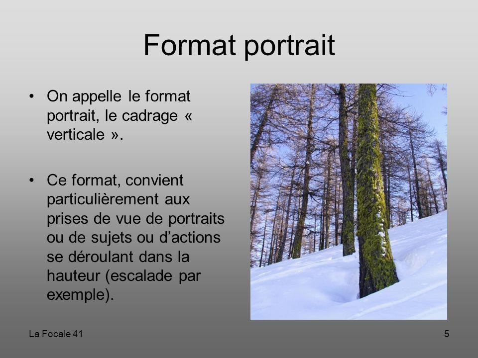 La Focale 415 Format portrait On appelle le format portrait, le cadrage « verticale ». Ce format, convient particulièrement aux prises de vue de portr
