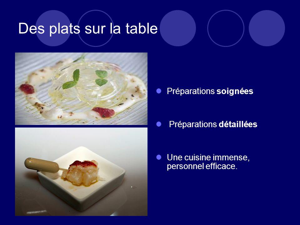 Des plats sur la table Préparations soignées Préparations détaillées Une cuisine immense, personnel efficace.