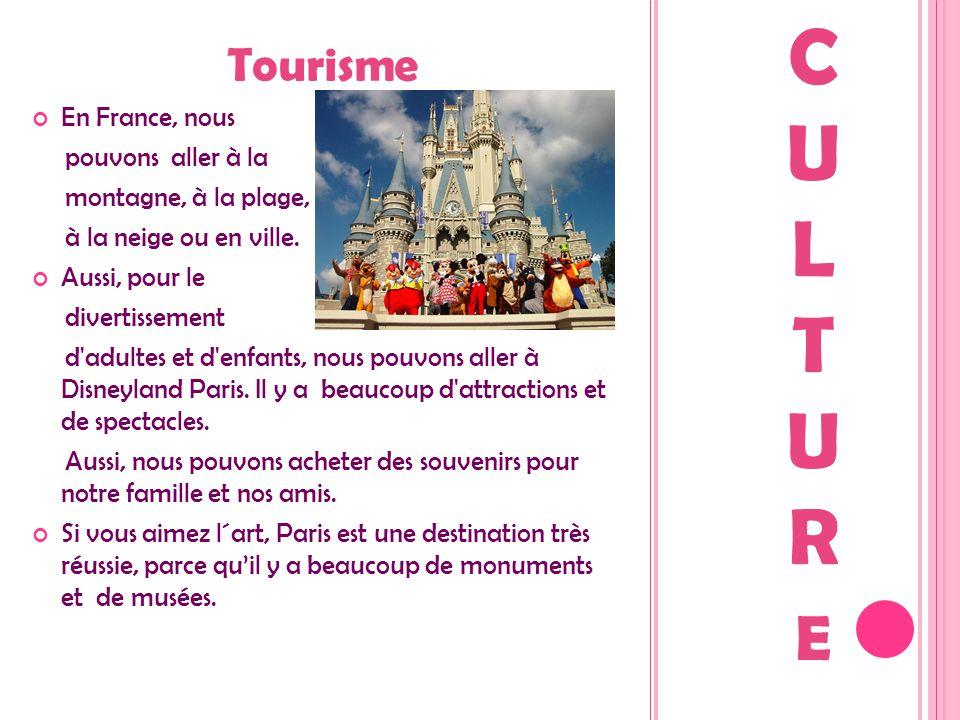 Tourisme En France, nous pouvons aller à la montagne, à la plage, à la neige ou en ville. Aussi, pour le divertissement d'adultes et d'enfants, nous p