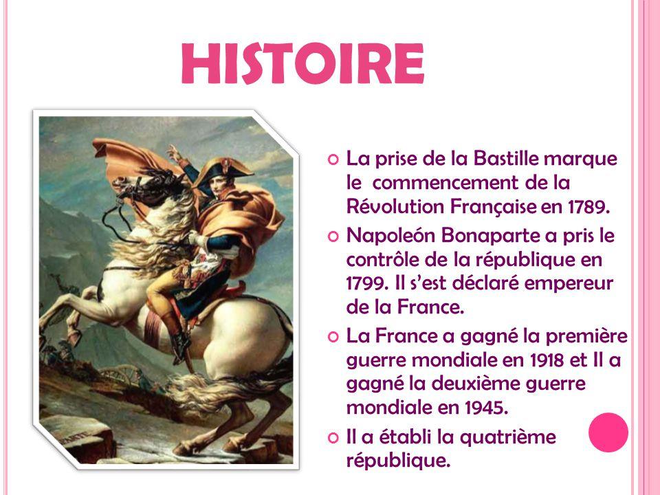 HISTOIRE La prise de la Bastille marque le commencement de la Révolution Française en 1789. Napoleón Bonaparte a pris le contrôle de la république en