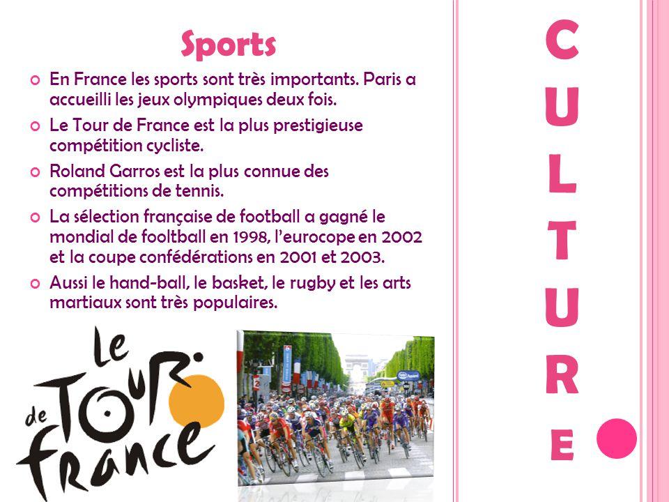 Sports En France les sports sont très importants. Paris a accueilli les jeux olympiques deux fois. Le Tour de France est la plus prestigieuse compétit