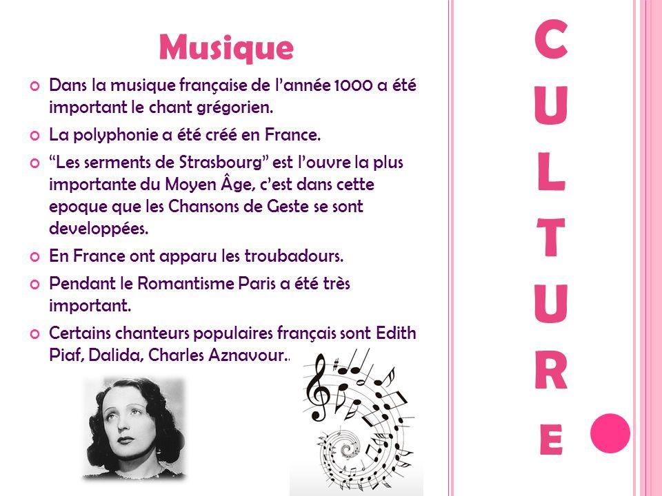 """Musique Dans la musique française de l'année 1000 a été important le chant grégorien. La polyphonie a été créé en France. """"Les serments de Strasbourg"""""""