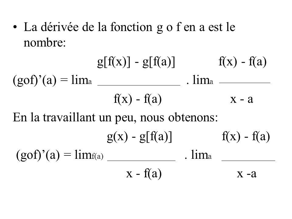 La dérivée de la fonction g o f en a est le nombre: g[f(x)] - g[f(a)] f(x) - f(a) (gof)'(a) = lim a. lim a f(x) - f(a) x - a En la travaillant un peu,