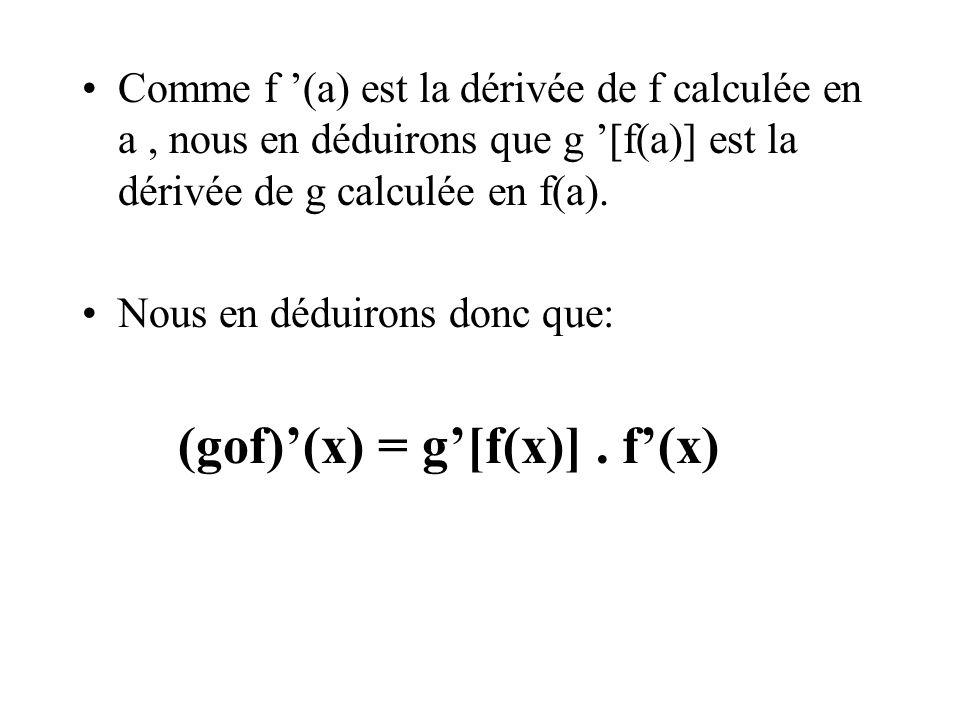 Comme f '(a) est la dérivée de f calculée en a, nous en déduirons que g '[f(a)] est la dérivée de g calculée en f(a). Nous en déduirons donc que: (gof