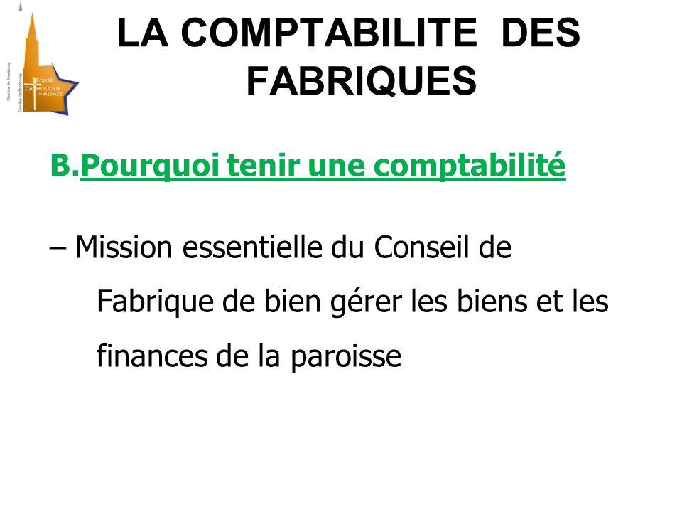 LA COMPTABILITE DES FABRIQUES B.Pourquoi tenir une comptabilité – Mission essentielle du Conseil de Fabrique de bien gérer les biens et les finances de la paroisse