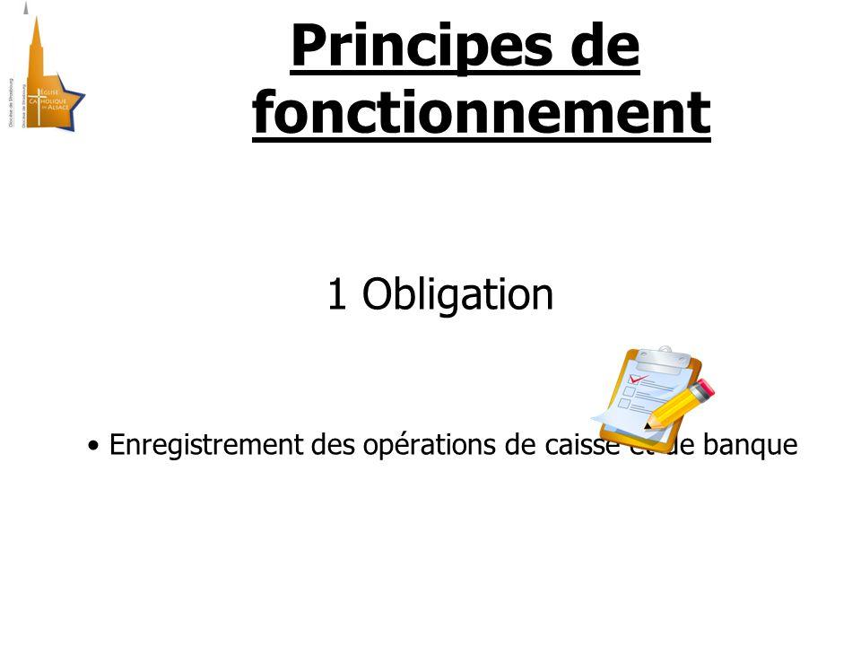 Principes de fonctionnement 1 Obligation Enregistrement des opérations de caisse et de banque