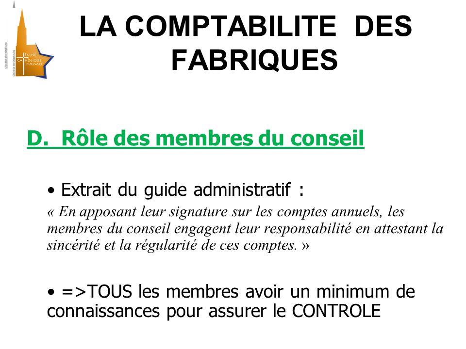 LA COMPTABILITE DES FABRIQUES D.