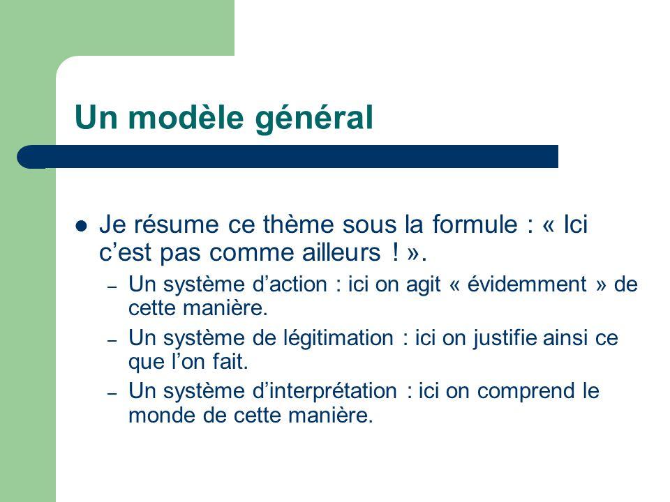 Un modèle général Je résume ce thème sous la formule : « Ici c'est pas comme ailleurs .