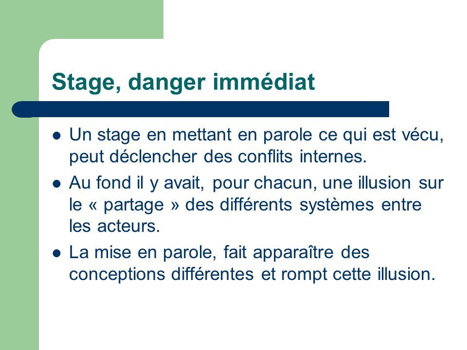 Stage, danger immédiat Un stage en mettant en parole ce qui est vécu, peut déclencher des conflits internes.