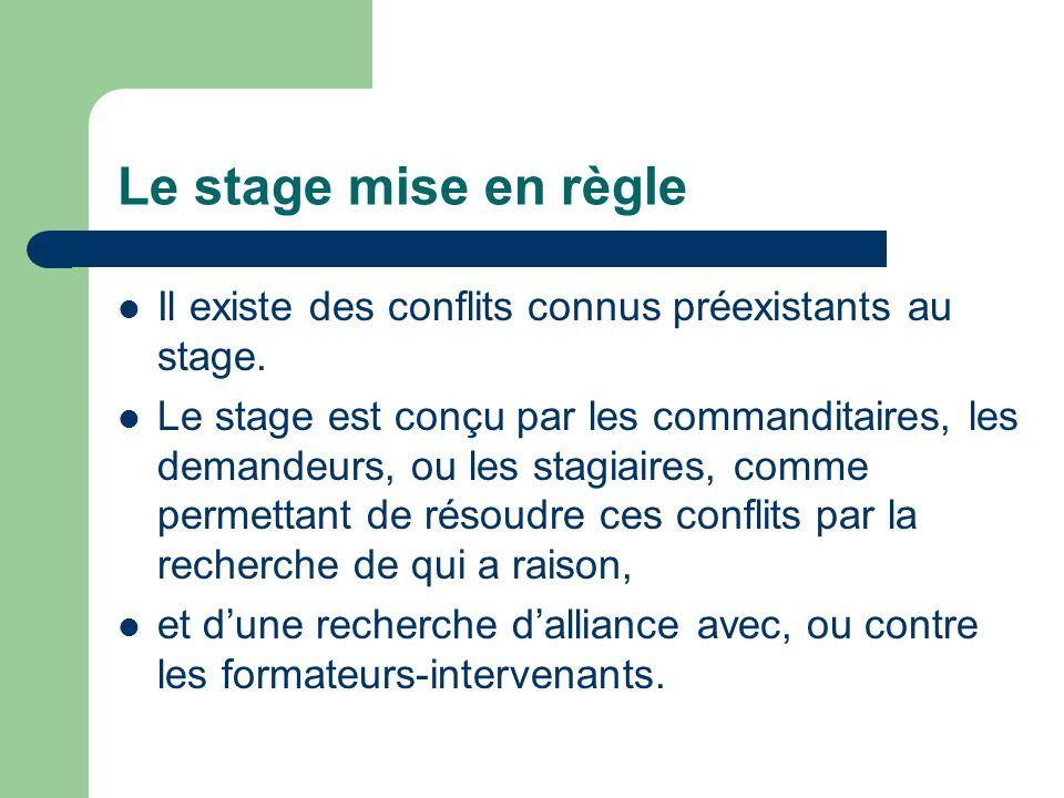 Le stage mise en règle Il existe des conflits connus préexistants au stage.