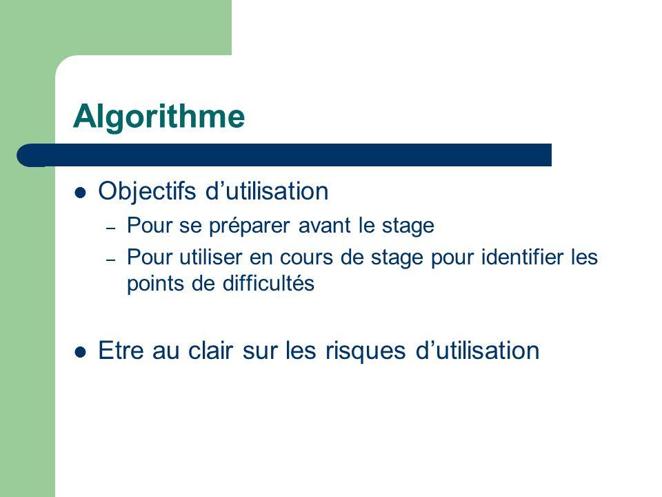 Algorithme Objectifs d'utilisation – Pour se préparer avant le stage – Pour utiliser en cours de stage pour identifier les points de difficultés Etre au clair sur les risques d'utilisation