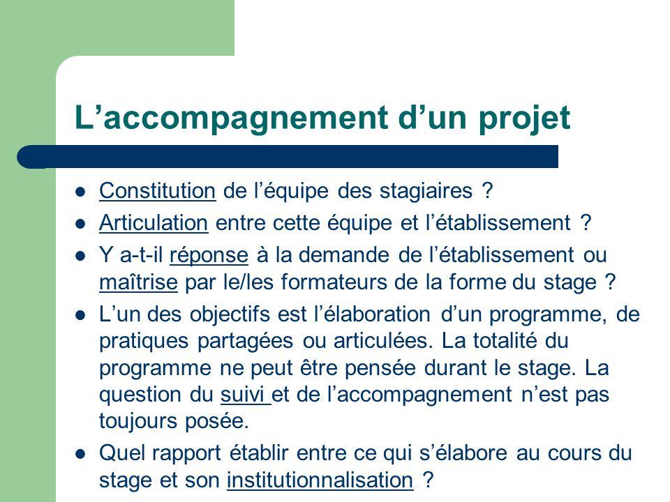L'accompagnement d'un projet Constitution de l'équipe des stagiaires .