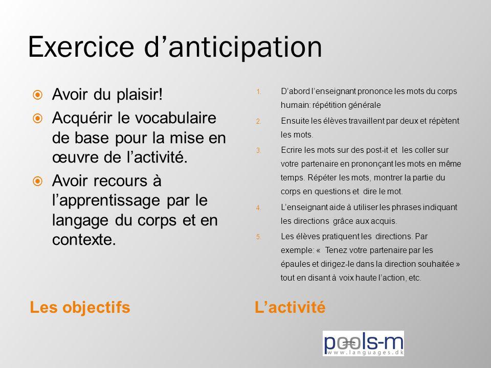 Exercice d'anticipation Les objectifsL'activité  Avoir du plaisir!  Acquérir le vocabulaire de base pour la mise en œuvre de l'activité.  Avoir rec