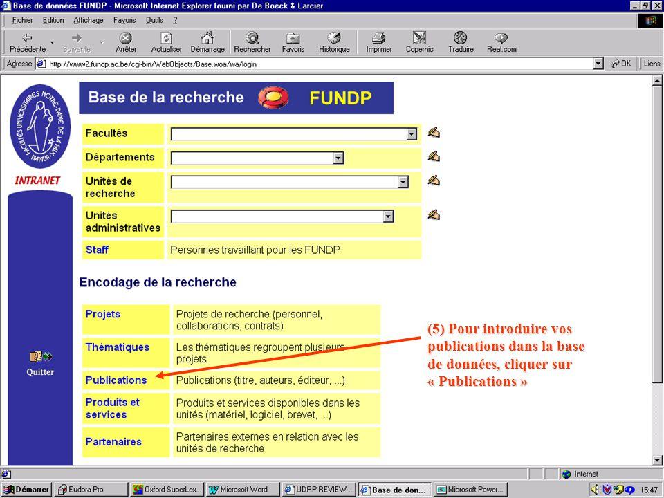 (5) Pour introduire vos publications dans la base de données, cliquer sur « Publications »