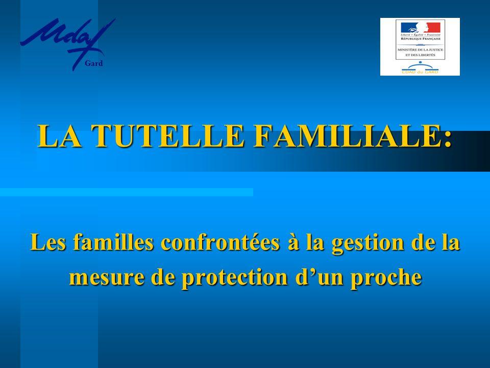 LA TUTELLE FAMILIALE: Les familles confrontées à la gestion de la mesure de protection d'un proche Gard